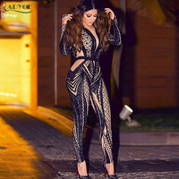 Adyce 2018 High Quality Woman Jumpsuits Sexy Long Sleeve Bodysuit Sequins Patchwork Mesh Celebrity Party Long