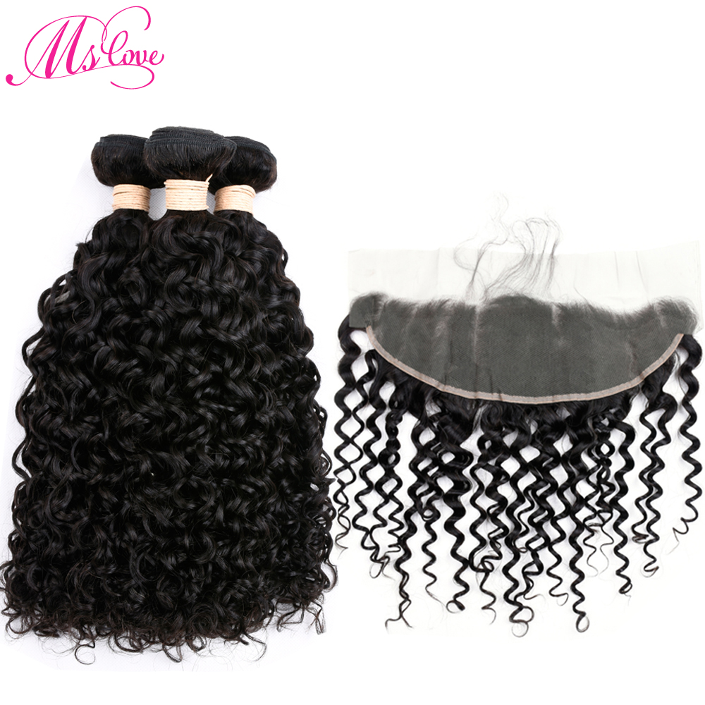 Ms Love Malaysian Water Wave 3 Bundles With Lace Frontal Closure 13*4 Pre Plucked Non Remy Human Hair Weave Bundles With Frontal