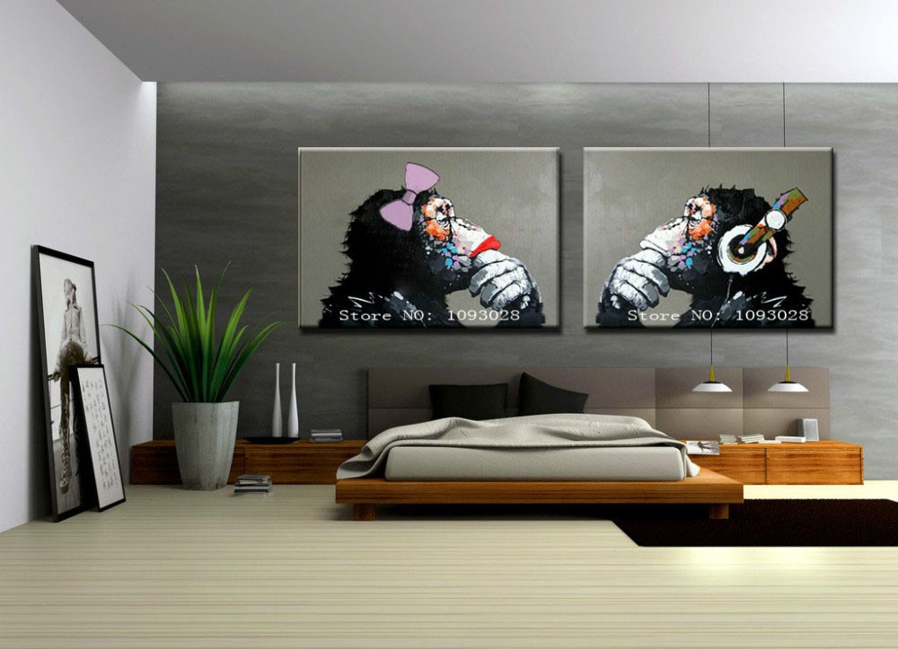 Hand painted Gorilla wall art picture living