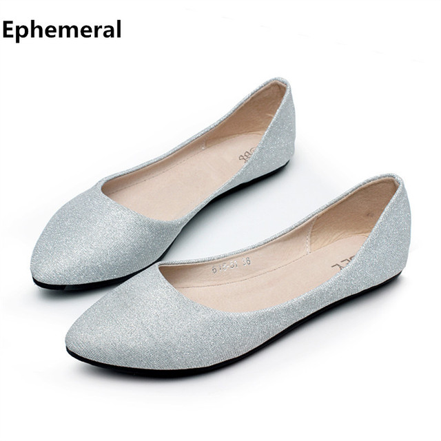 4e2a9ff6d2d Summer slip ons 45 46 9 women shoes for dancing pointed toe flats ballet  ladies loafers soft sole low top gold silver black pink