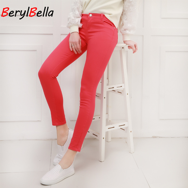 Women Pants Candy Jeans 2018 Spring Fall Pencil Pants Slim Casual Female Stretch Trousers White Jean pantalones mujer BerylBella