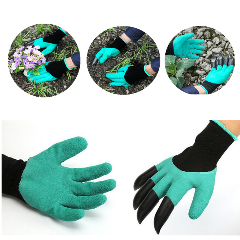 New 1 Pair Green Garden Gloves with Fingertips Claws Dig and Plant Safe for Rose Pruning Gloves Mittens Digging Gloves QL ...