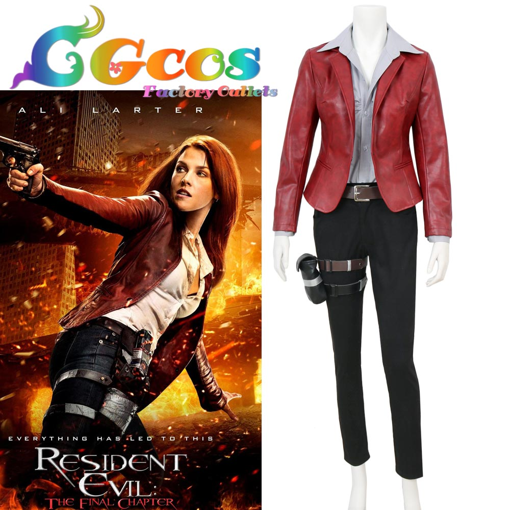 Cosplay Costume Resident Evil 6: The Final Chapter Claire Redfield Pleather PU Uniform Movie Game Halloween Free Shipping