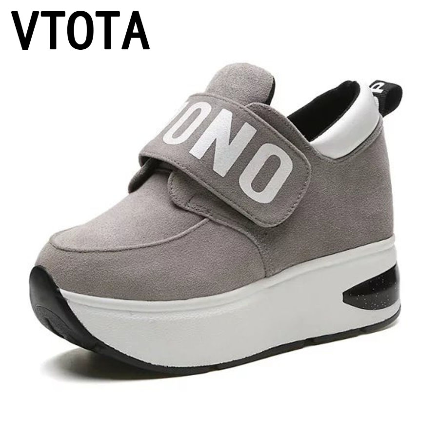 VTOTA High Heels Shoes Women Sneakers Wedges Autumn Casual Platform Shoes Heigh Increasing Zapatos Mujer Heel Shoes Woman E60 large size 8cm high 2016 women casual canvas shoes woman platform wedges high top with zippers ladies zapatos mujer espadrilles