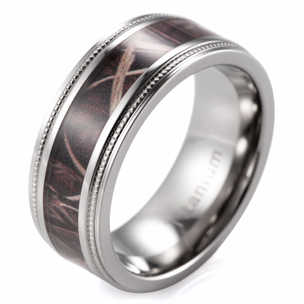 Mens Outdoors Bands: 8mm Men's Camo Wedding Ring Titanium Milgrain Edges Camo
