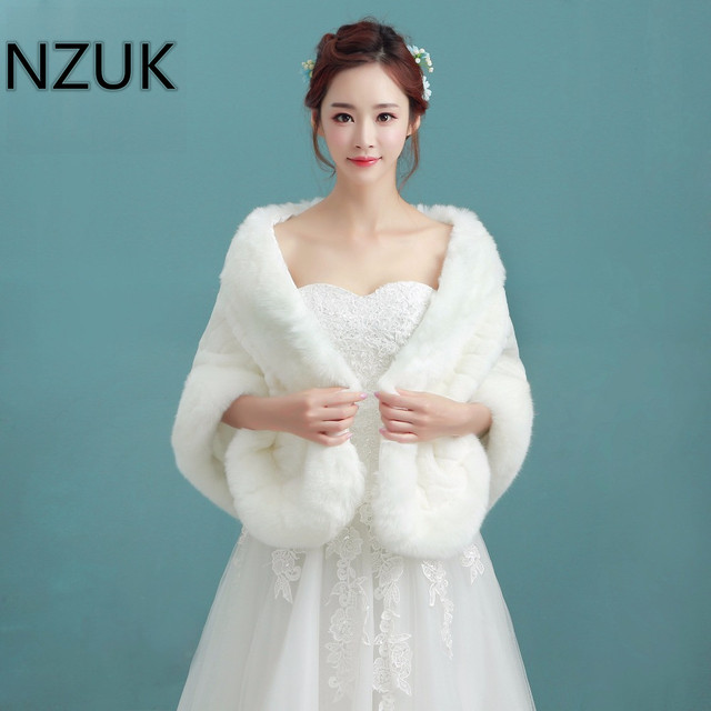 Nzuk Winter Bridal Fur Wraps Wedding Bolero Jacket Shawl Capes Plus Size Faux