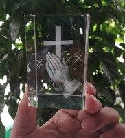 Chrześcijaństwo katolicyzm najlepszy prezent na boże narodzenie religijne skuteczne módlcie się w domu bezpieczeństwo rodzinne talizman 3D Crystal THE CROSS statue w Krzyże na ścianę od Dom i ogród na