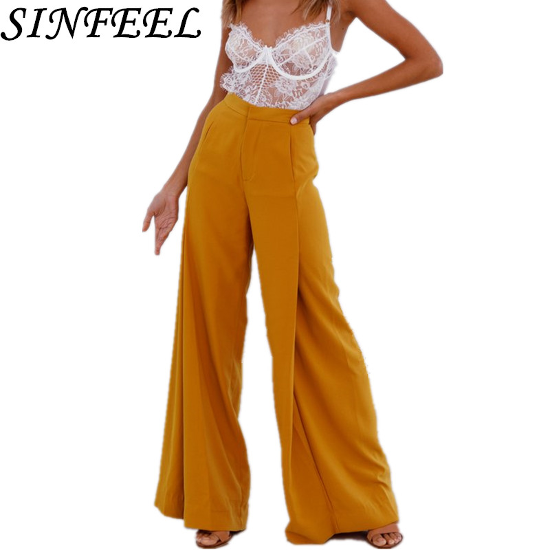 SINFEEL 2018 High Waist Zipper Palazzo Pants with Pocket Fashion Loose Wide Leg Pants Women Elegant OL Style Trousers Female in Pants amp Capris from Women 39 s Clothing