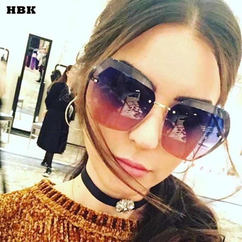 2017 Gafas de sol de moda de gradiente sin montura Mujeres Lente - Accesorios para la ropa