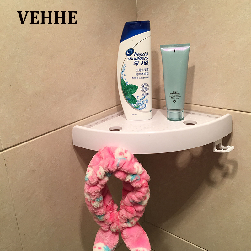 Bathroom Fixtures Bathroom Shelves Lower Price with Vehhe Vip Multi-function Corner Shelf Storage Hook Triangle Rack Wall Holder Shampoo Holder No Nail Convenient Press Suction Cup Profit Small