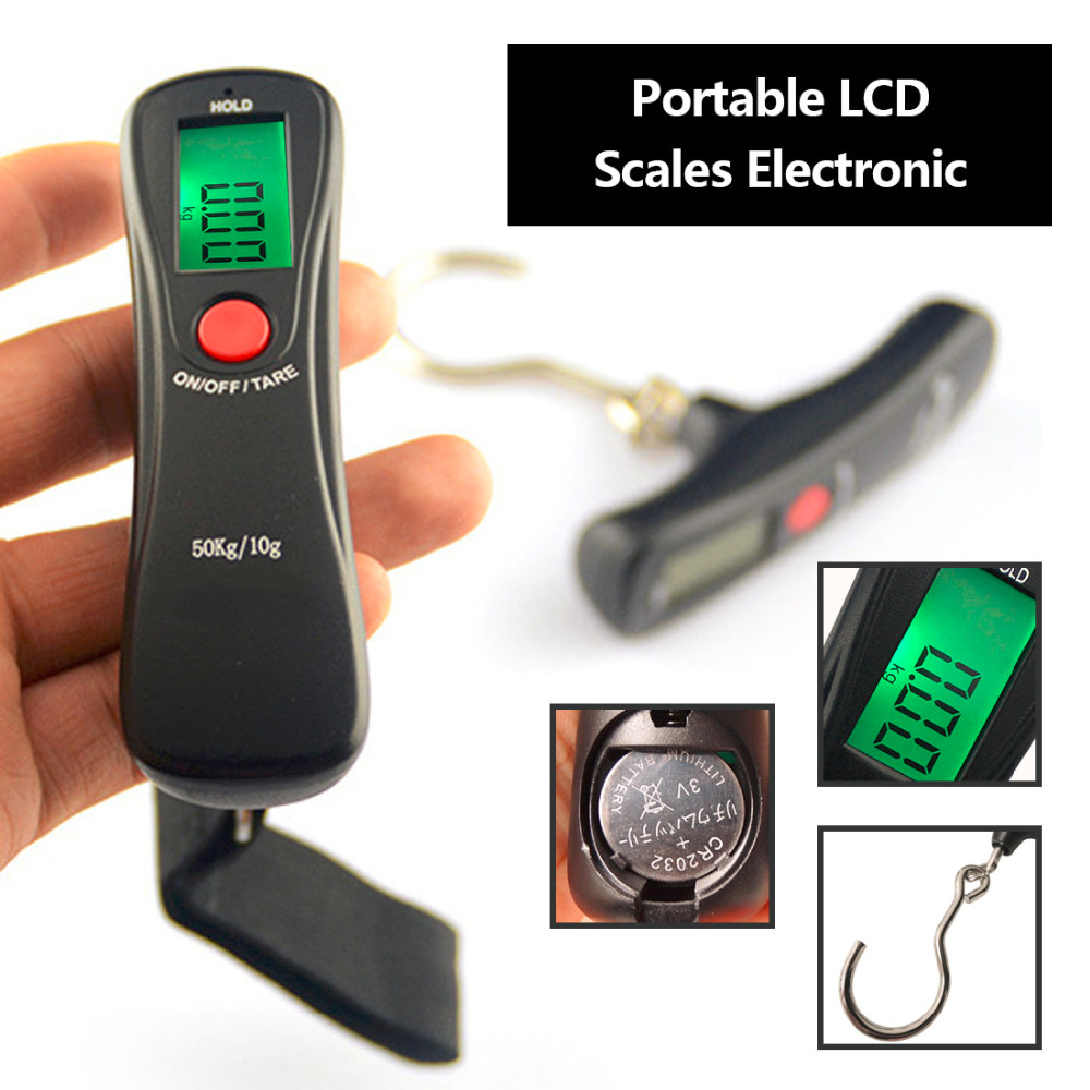 Mini Portable Scale Digital Hanging Travel Luggage Scale for Fishing Suitcase Bag Baggage 110lb/50kg Hook Balance Weighing Tool 10x electronic portable digital luggage scale handheld travel suitcase weighing 50kg toogoo r