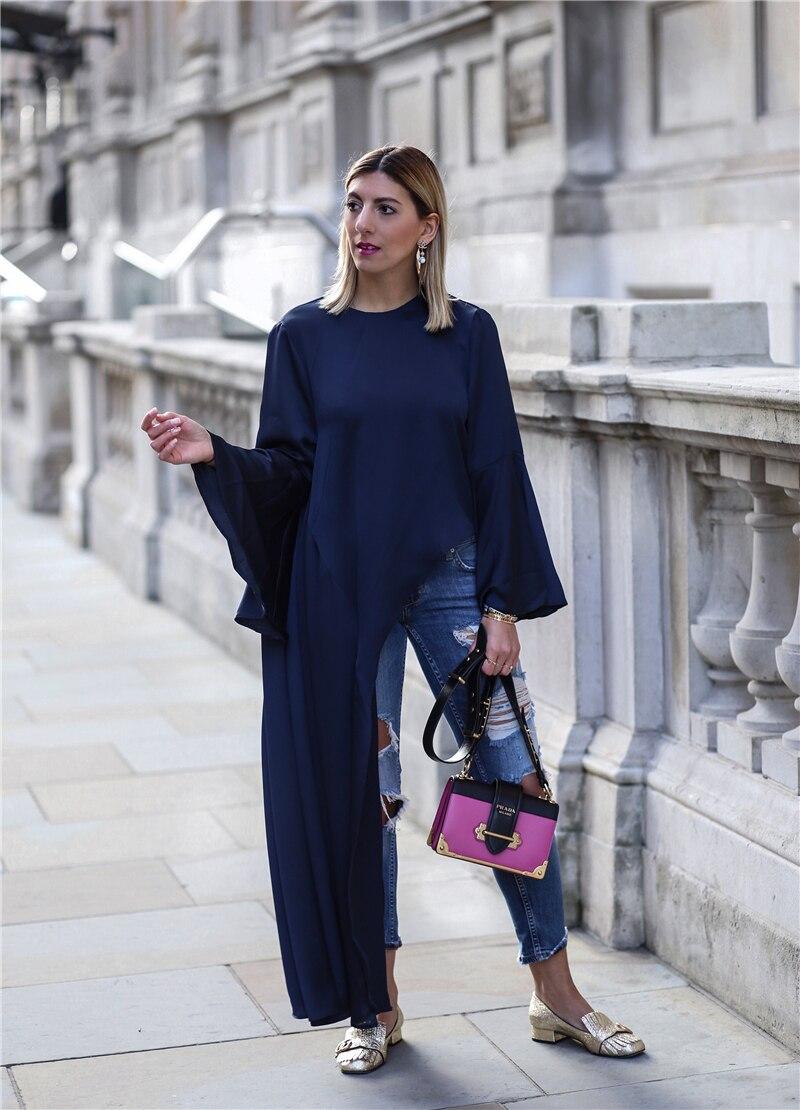 AEL Fashion Blogger Women s Oversize Irregular T shir Long Flare Sleeve Navy Blue O neck