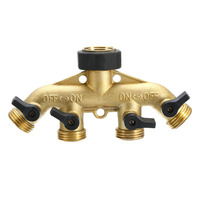 Brass 4 Way Tap Connector Splitter Connect Adaptor 3 4 Hose Pipe Switcher Nozzle Garden Watering