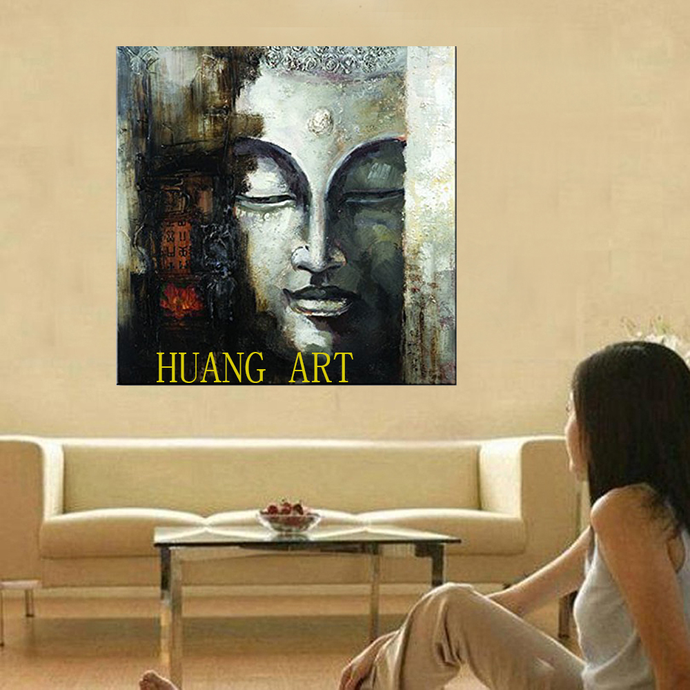 Art Hand Painted Large Buddha Face Canvas Wall Art Abstract Oil ...
