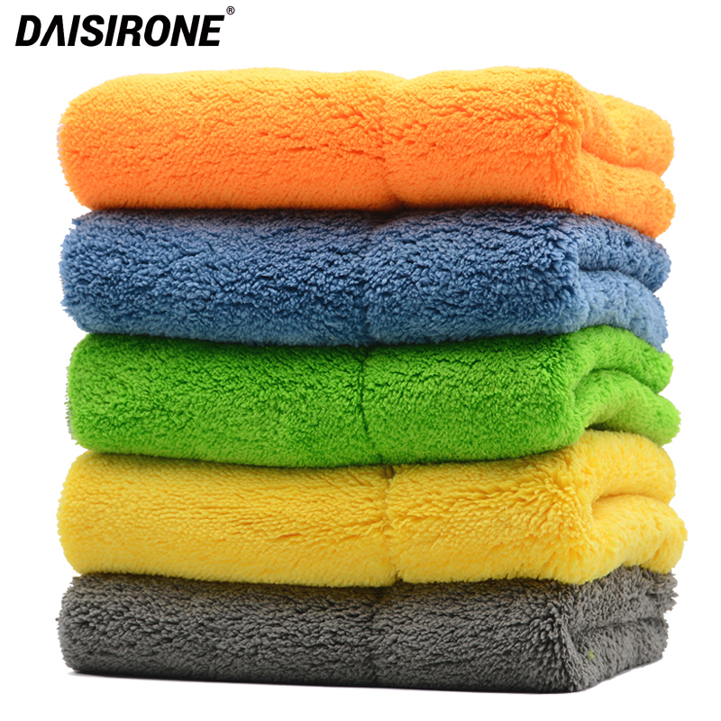 5PCS 820GSM Ultra Thick Plush Microfiber Towels Car Cleaning Cloth Auto Wash Waxing Drying Polishing Detailing
