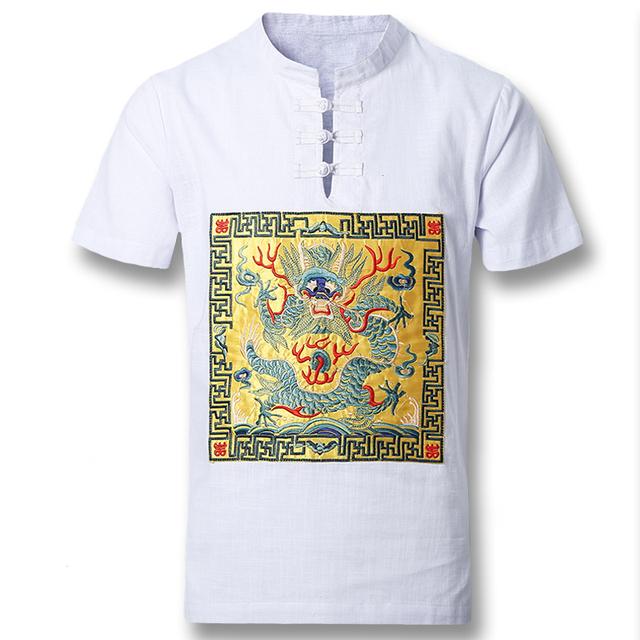 2016 Novo Lençóis De Algodão Homens Camisas Casuais dos homens do Estilo Chinês moda Slim Fit Verão de Manga Curta Camisa Masculina Camisa Hombre M-5XL