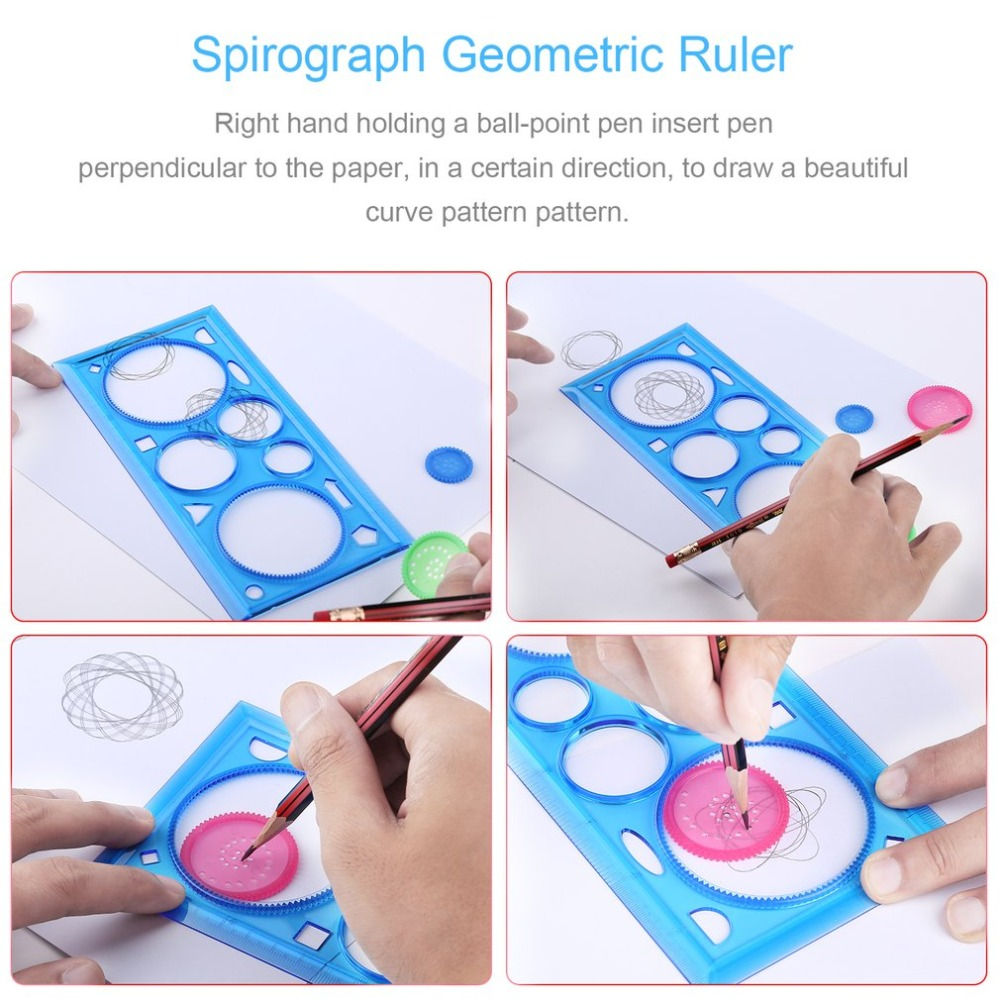 1PC Multifunctional Spirograph Geometric Ruler Drafting Tools Learning Drawing Tool Stationery Gift For Student Plastic Ruler