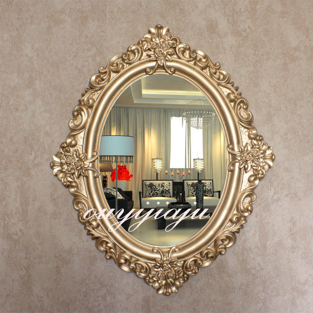 Large Big Decorative Cosmetic Antique Oval Wall Mirror With Frame Vintage Wedding Gift Bathroom Shower