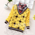 2016 new children's sweater in children 5-8 years old boy fake two piece shirt collar sweater wholesale