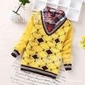 2016 nuevos niños del suéter de los niños 5-8 años de edad chico falso de dos piezas suéter cuello de la camisa al por mayor