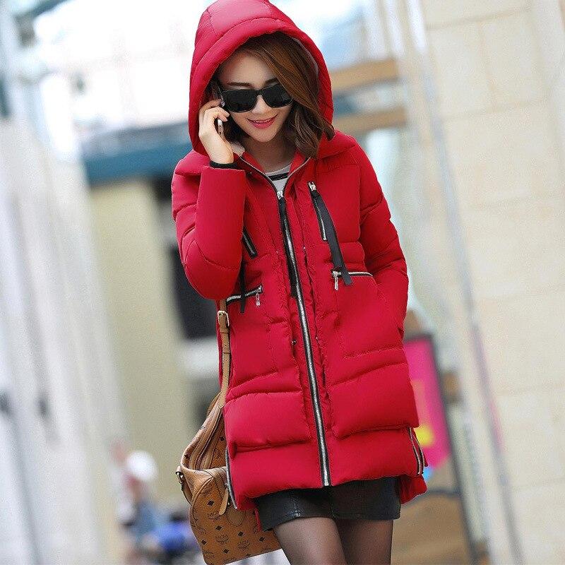 Зимняя куртка, Женское зимнее пальто с хлопковой подкладкой, женские парки, толстая теплая хлопковая одежда с капюшоном, верхняя одежда, плюс размер 5XL K680 - Цвет: red
