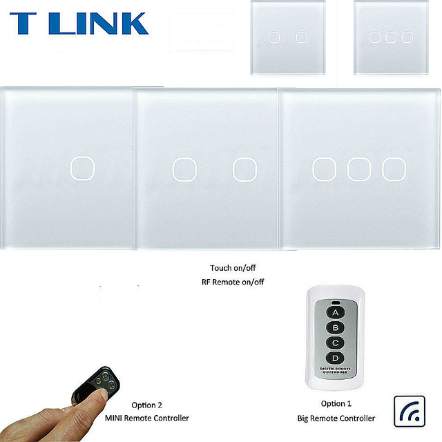 Interruptor táctil TLINK 1 2 3 Gang 1 Way interruptor de luz de Control remoto inalámbrico indicador LED para RF433 hogar inteligente interruptor táctil