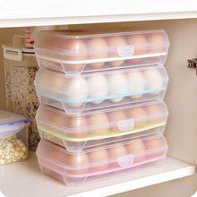 Nevera de huevos, caja de 15 huevos de plástico, estante de cocina para guardar huevos, contenedor de alimentos, caja de almacenamiento eficiente para dispensador de huevos