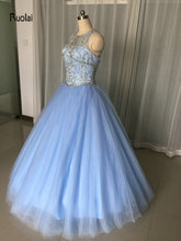 Amazing Quinceanera Dress Sleeveless Scoop Beading Crystal Corset Bodice Tulle Ball Gown Party Dress Backless Custom Made
