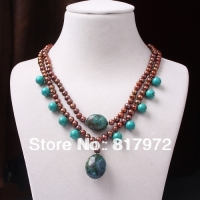 Elegant Woman Party Coffee Real Pearl Bead Inlay Natural Turquoise Bead Dangle Pendant Necklace 6N0079