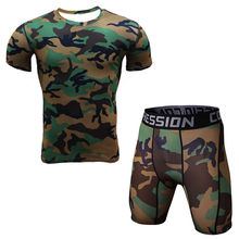 Compression Clothing Suits For Man (top+shorts) Fitness tops Short Sleeve Shorts Workout Sets Camouflage Wear(China)