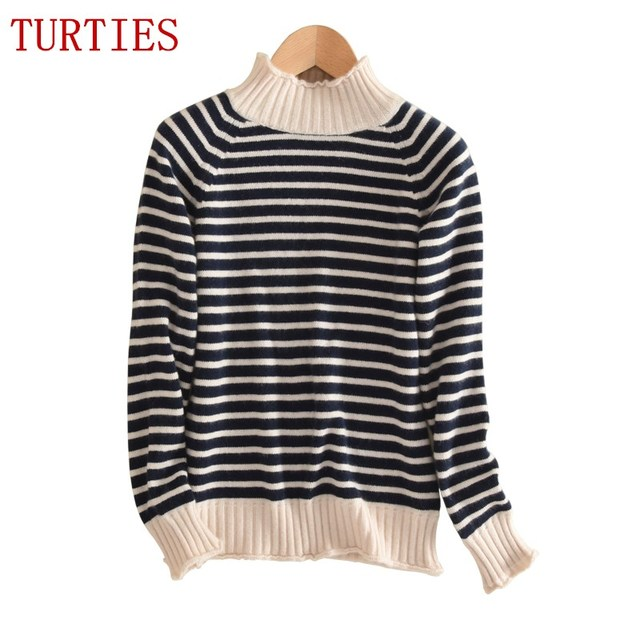 NEW autumn and winter female stripes half-high Cashmere wool Blended Sweater Leisure Knitted Pullover Slim Rendering Sweaters