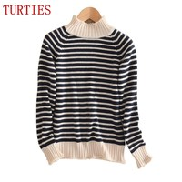 NEW Autumn And Winter Female Stripes Half High Cashmere Wool Blended Sweater Leisure Knitted Pullover Slim