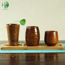 Chino de madera taza de té kung fu agua café taza de consumición de la cerveza de la leche del desayuno de la vendimia hecha a mano de madera natural de estilo Japonés