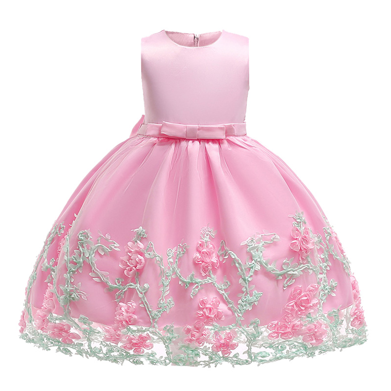 Retail Appliques Princess   Girls   Birthday Celebrity Party Prom   Dress   Elegant   Flower     Girls     Dresses   With Bow L1845