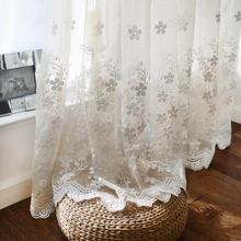 Simple European White Color Dimensional Lace Embroidered Tulle Sheer Curtain for Bedroom or Living Room Window Voile Curtain