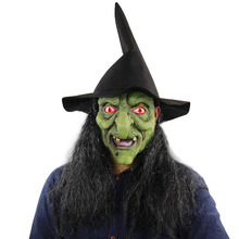 Halloween Scary Mask Old Witch With Wig Costume Creepy Evil Adult Latex Cosplay Party Masquerade Props