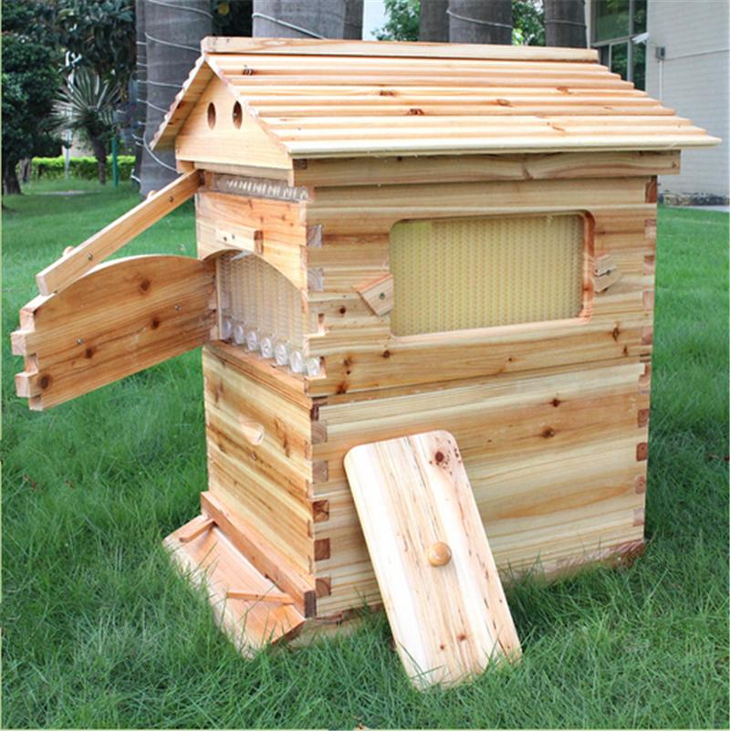 buy automatic langstroth honey flow bee hive beehive with 7 pcs flow frames. Black Bedroom Furniture Sets. Home Design Ideas