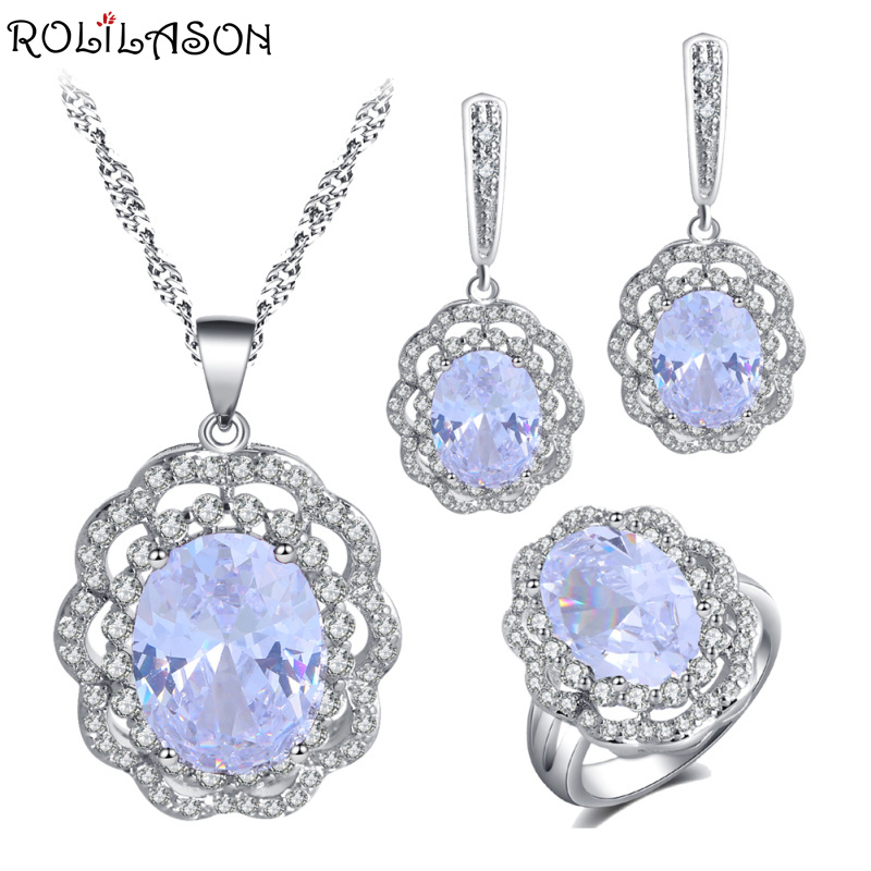 ROLILASON flower shape design 925 silver white crystal zircon earrings / necklace / ring wedding gift preferred for women JS815