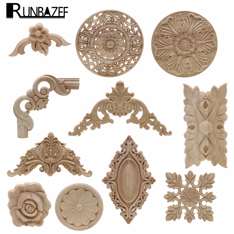 Frame Door Cabinet Decorative Figurines Wood Appliques For Furniture Unpainted Carved Corner Onlay Home Decoration Accessories