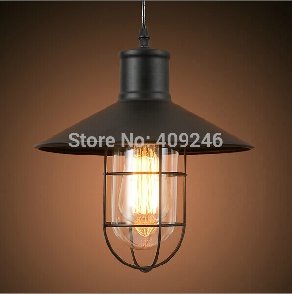Loft Retro Vintage Industrial Edison Droplight Dining-room Personality Iron Cage European-style Ceiling Lamp Lantern loft retro edison vintage industrial multicolor glass restaurants cafes single contracted bar counter droplight ceiling lamp