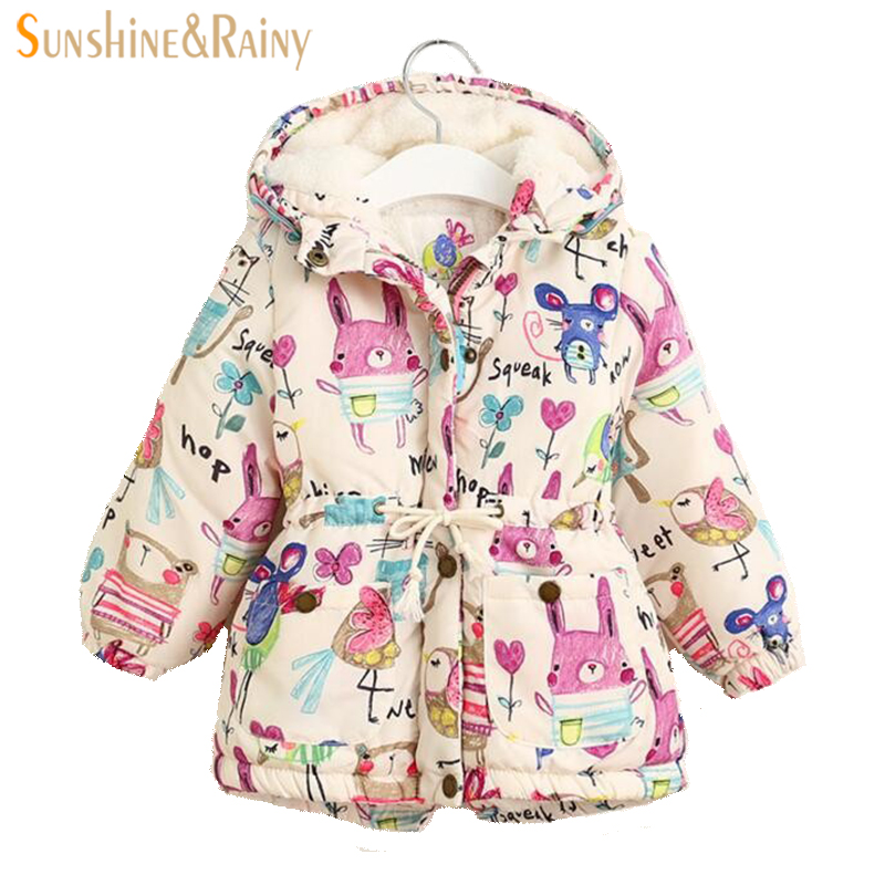 Thick Winter Girls Jackets And Coats Kids Graffiti Parkas Hooded Baby Girl Warm Outerwear Clothes Cartoon Childrens Jacket Coat