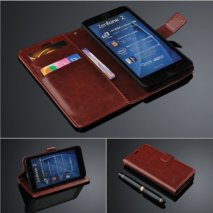 For Asus Zenfone 2 ZE551ML ZE550ML Case 5.5 inch Flip Wallet Genuine Leather Cover For Asus Zenfone 2 ZE551ML With Card Holder