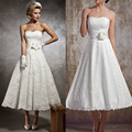 TOPQUEEN Real Sample A-line Short Wedding dresses Bridal Gown Lace Wedding Dress