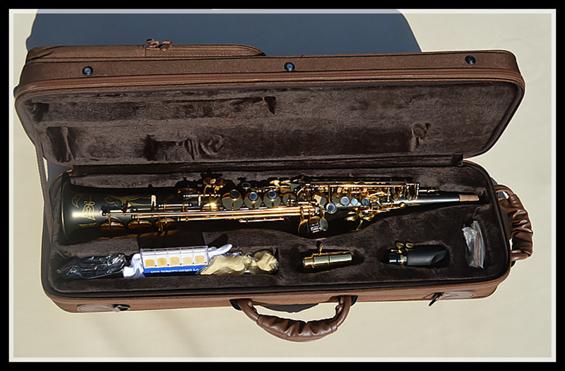 все цены на Free Shipping Matt Black pearl Gold soprano sax build one treble saxophone+Metal microphone онлайн