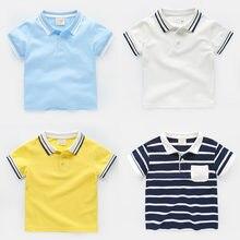 b1fc2b8ed54e2 Courtes manches chemise polo pour garçon D'été Bébé Enfants hauts Tournent  Vers Le Bas Garçons chemise en coton 5 Couleur Bande .