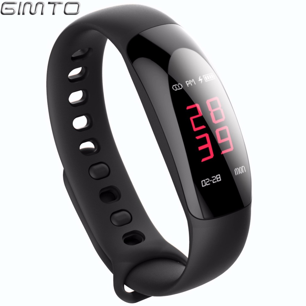 GIMTO Smart Bracelet Sport Watch LED Waterproof heart rate monitor blood pressure sleep monitor Bluetooth Clock for IOS Android the blood pressure bracelet is measured in the heart rate sleep monitor and the bluetooth waterproofing movement bracelet