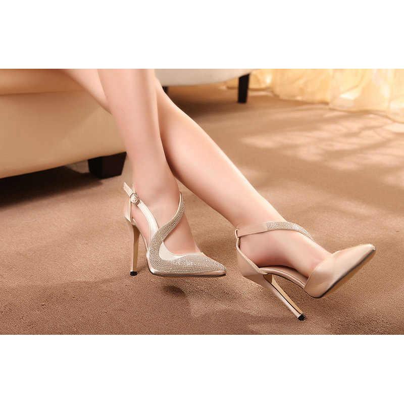 2019 sexy scarpe tacchi alti delle donne di disegno di marca tacchi alti night club delle donne di strass pompe tacchi alti del partito scarpe da sposa tacchi