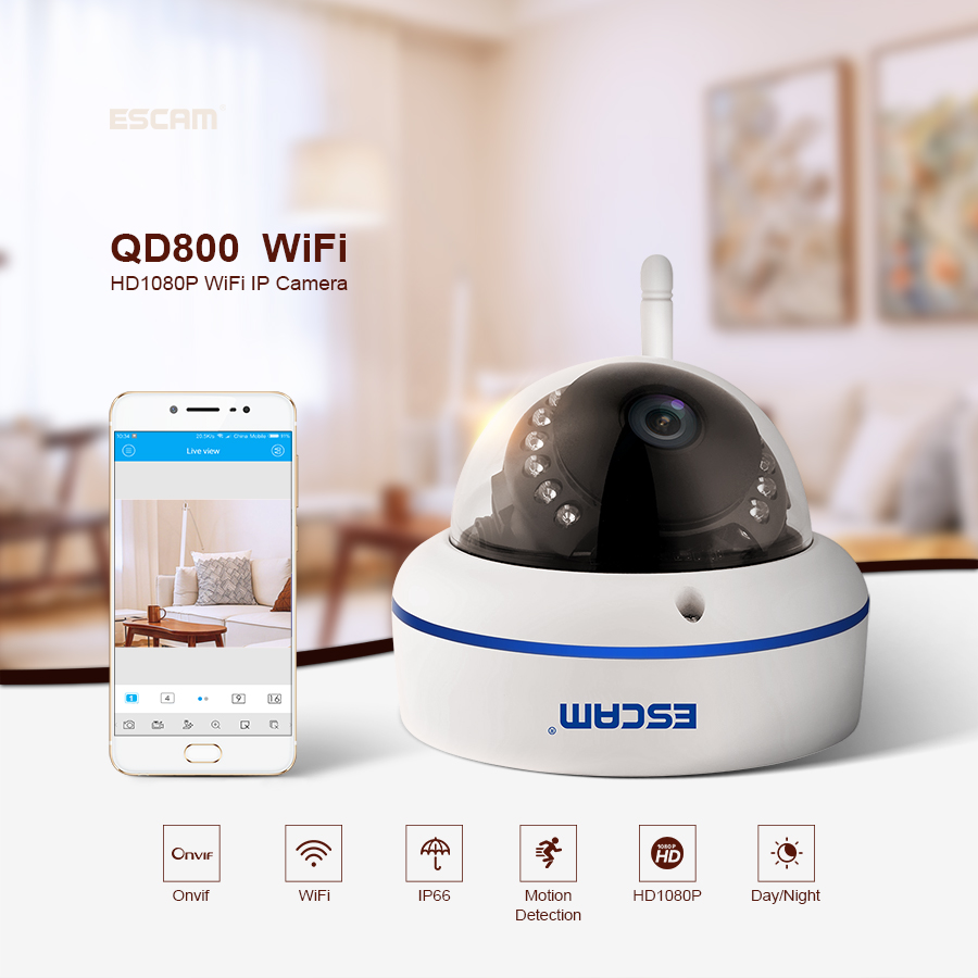 ESCAM Speed QD800WIFI 1080p wifi outdoor IP IR Dome Camera IP66 waterproof Onvif P2P wireless Night Vision Security CCTV Camera цена