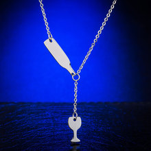 Beer bottle & cup necklace pendant
