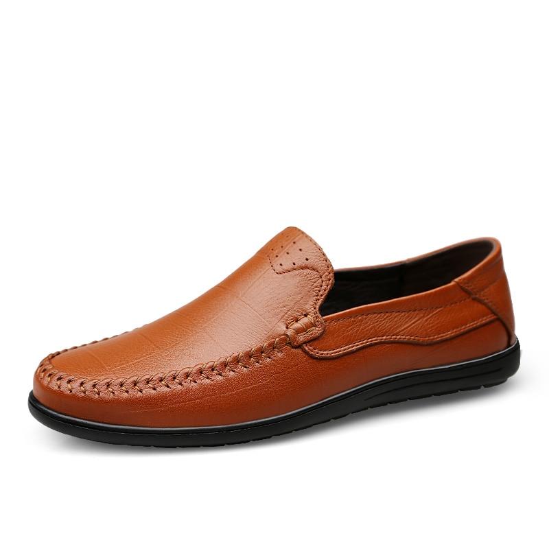 2018 Automne Hommes Clax Chaussure Véritable En Slip Respirant Mocassins dark Cuir Bateau brown on Brown Eté Décontractée Chaussures Black pY8dwY